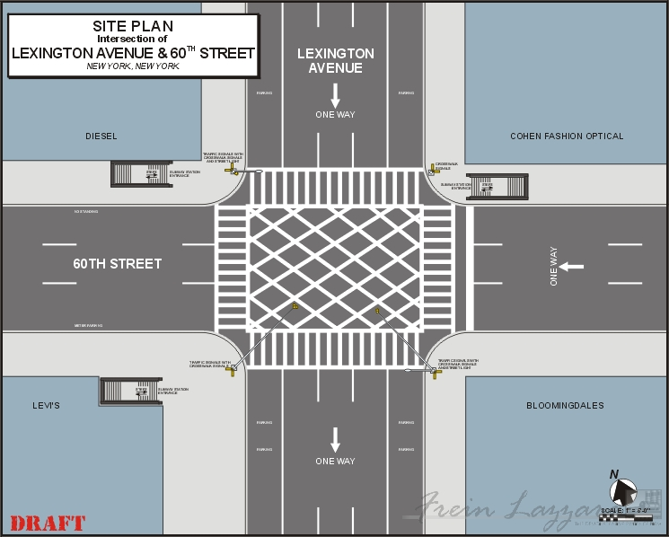 Scaled site plan of simple intersection