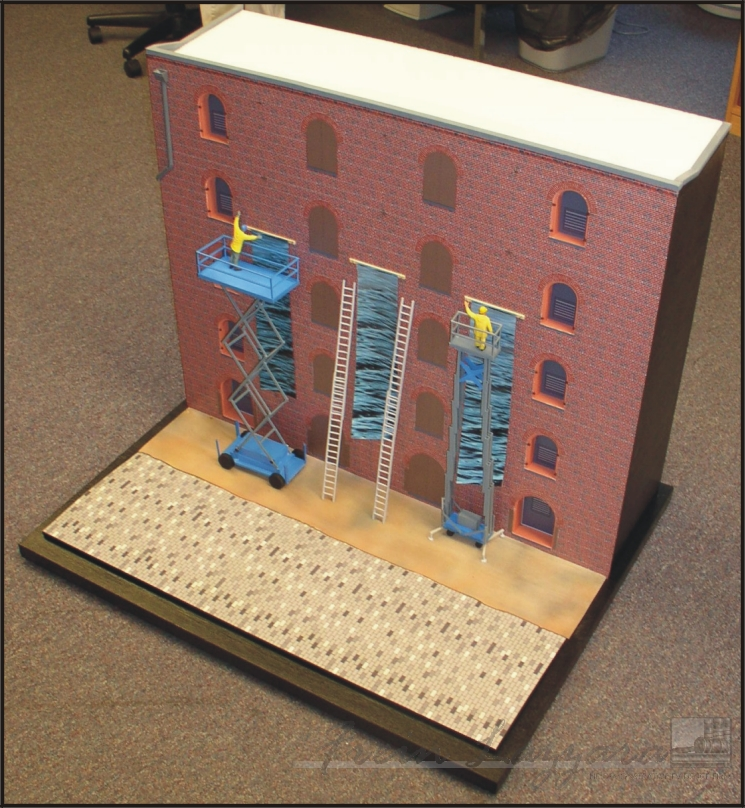 Scale model of Brooklyn historical building facade